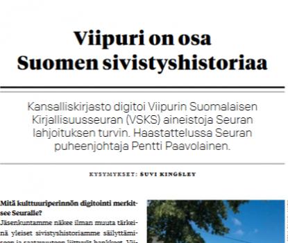 Kansalliskirjasto-lehti: Viipuri on osa Suomen sivistyshistoriaa